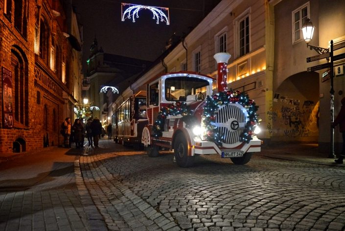 Kalėdinis traukinukas senamiestyje