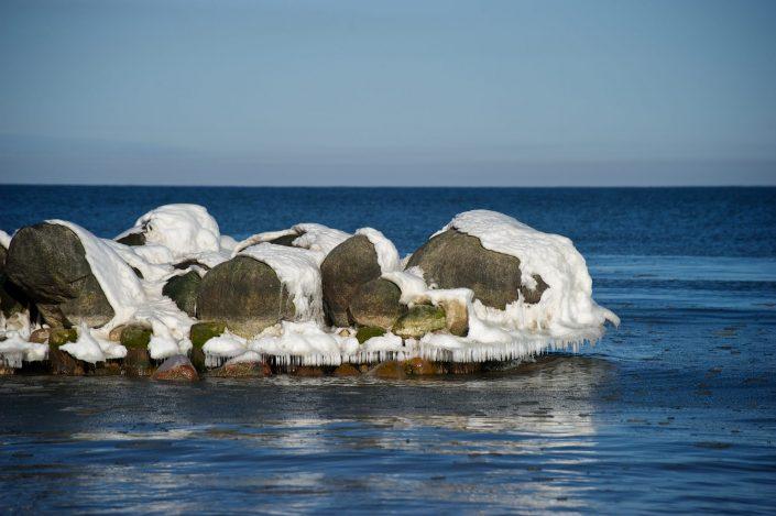Žiema ant jūros akmenų